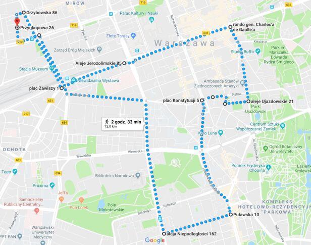 Mapa przejazdu rowerzystów Google Maps / Masa Powstańcza