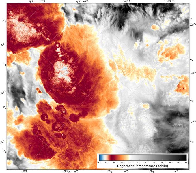 Burza na Pacyfiku 29 grudnia 2018 roku (VIIRS/NOAA/NASA)