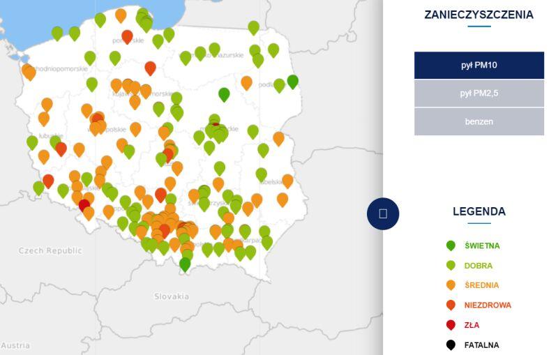 Stężenie pyłu PM10 w czwartek o godzinie 9 (tvnmeteo.pl za GIOŚ)