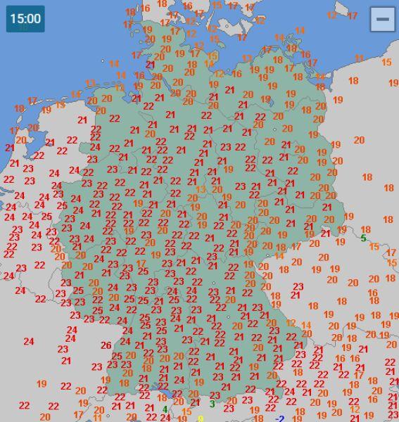 Temperatura w Niemczech w Wielkanoc o godzinie 15 (za wetteronline.de)